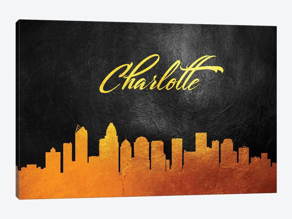 Charlotte North Carolina Gold Skyline by Adrian Baldovino 1-piece Canvas Art