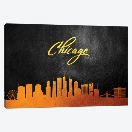 Chicago Illinois Gold Skyline Canvas Print #ABV343} by Adrian Baldovino Canvas Artwork