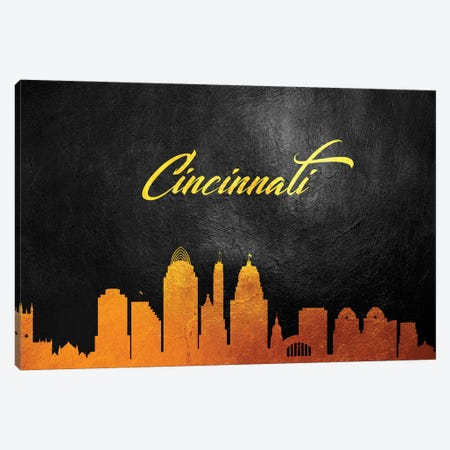 Cincinnati Ohio Gold Skyline Canvas Print #ABV344} by Adrian Baldovino Art Print