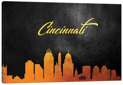 Cincinnati Ohio Gold Skyline Canvas Art Print