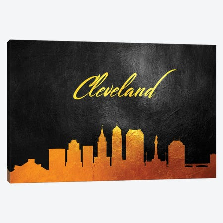 Cleveland Ohio Gold Skyline 3-Piece Canvas #ABV345} by Adrian Baldovino Canvas Print