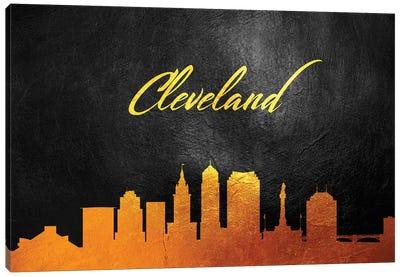 Cleveland Ohio Gold Skyline Canvas Art Print