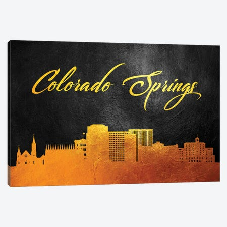 Colorado Springs Gold Skyline Canvas Print #ABV346} by Adrian Baldovino Canvas Print
