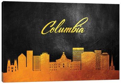 Columbia South Carolina Gold Skyline Canvas Art Print