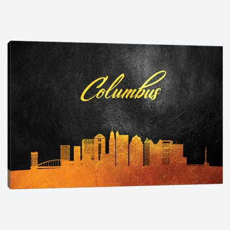 Columbus Ohio Gold Skyline Canvas Print #ABV348} by Adrian Baldovino Canvas Artwork