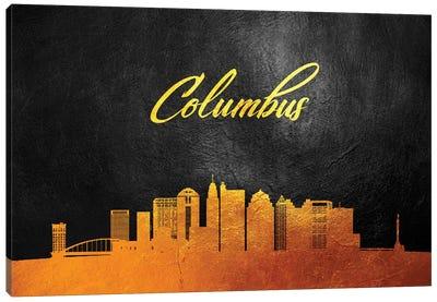 Columbus Ohio Gold Skyline Canvas Art Print