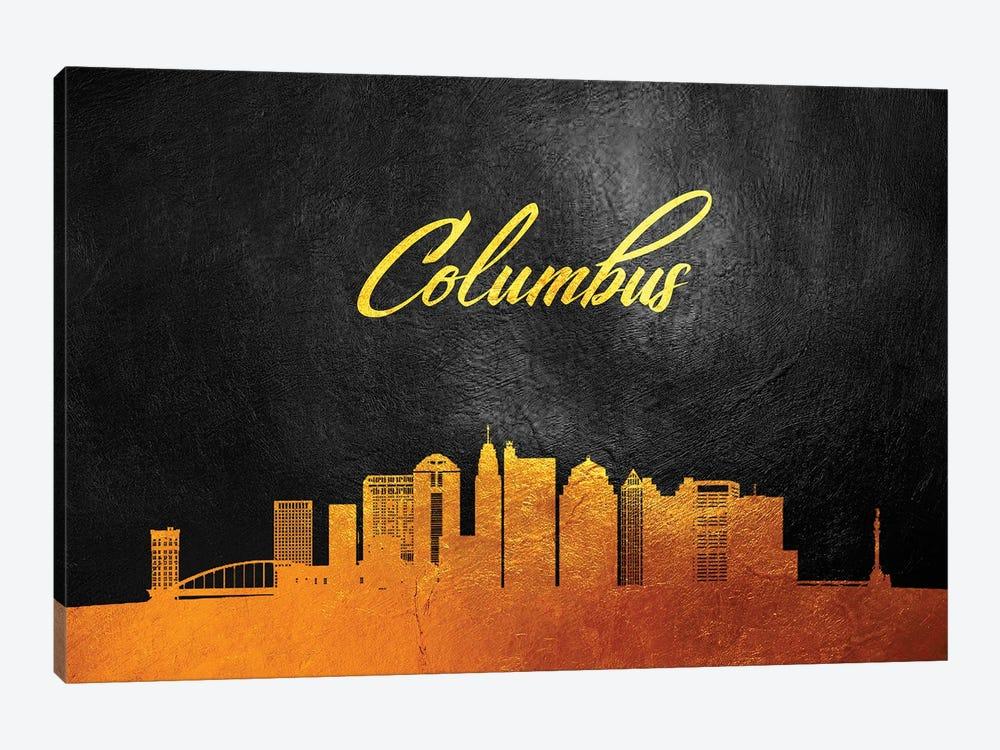 Columbus Ohio Gold Skyline by Adrian Baldovino 1-piece Canvas Art