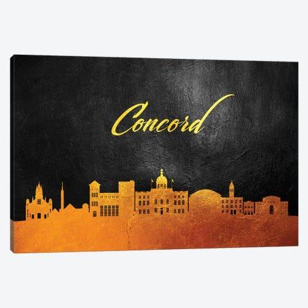 Concord Massachusetts Gold Skyline Canvas Print #ABV349} by Adrian Baldovino Canvas Wall Art
