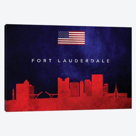 Fort Lauderdale Florida Skyline Canvas Print #ABV34} by Adrian Baldovino Canvas Art