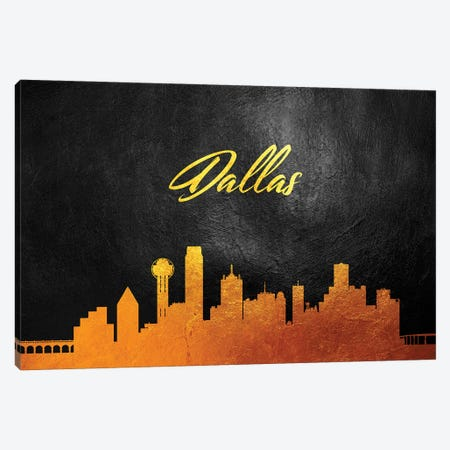 Dallas Texas Gold Skyline Canvas Print #ABV350} by Adrian Baldovino Canvas Print