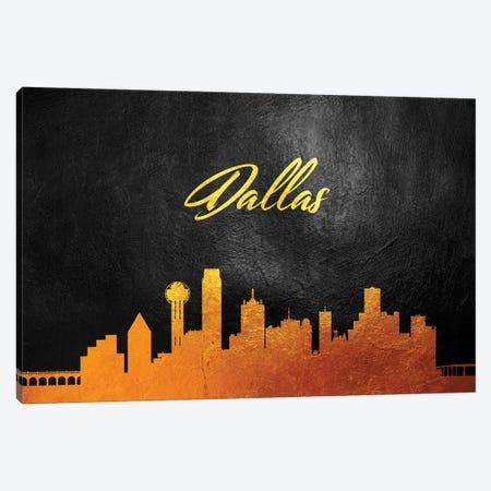 Dallas Texas Gold Skyline Canvas Print #ABV350} by Adrian Baldovino Canvas Print