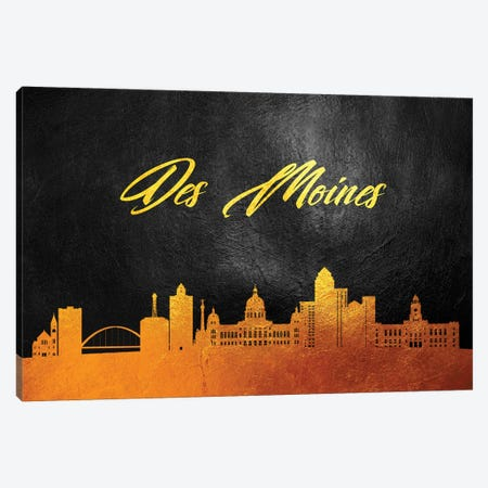 Des Moines Iowa Gold Skyline Canvas Print #ABV351} by Adrian Baldovino Canvas Print