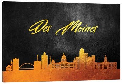Des Moines Iowa Gold Skyline Canvas Art Print
