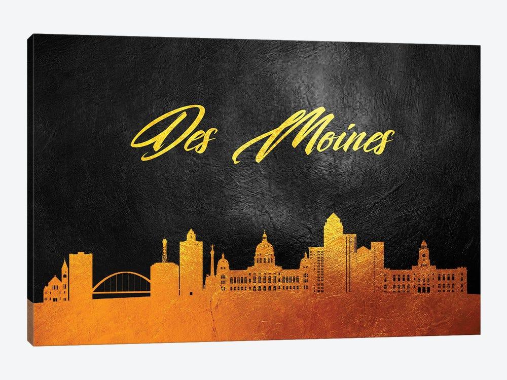Des Moines Iowa Gold Skyline by Adrian Baldovino 1-piece Canvas Wall Art