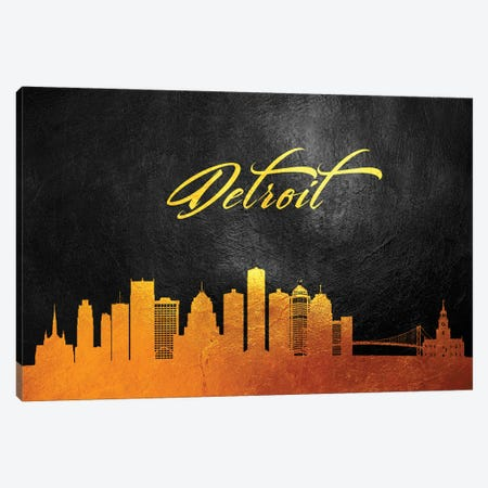 Detroit Michigan Gold Skyline 3-Piece Canvas #ABV352} by Adrian Baldovino Canvas Print