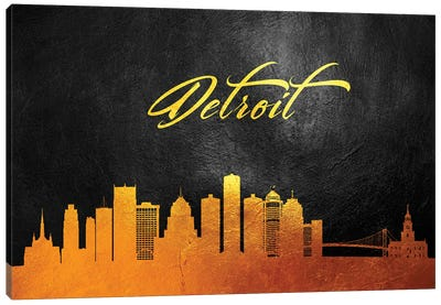 Detroit Michigan Gold Skyline Canvas Art Print