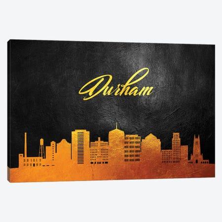 Durham North Carolina Gold Skyline Canvas Print #ABV354} by Adrian Baldovino Canvas Artwork