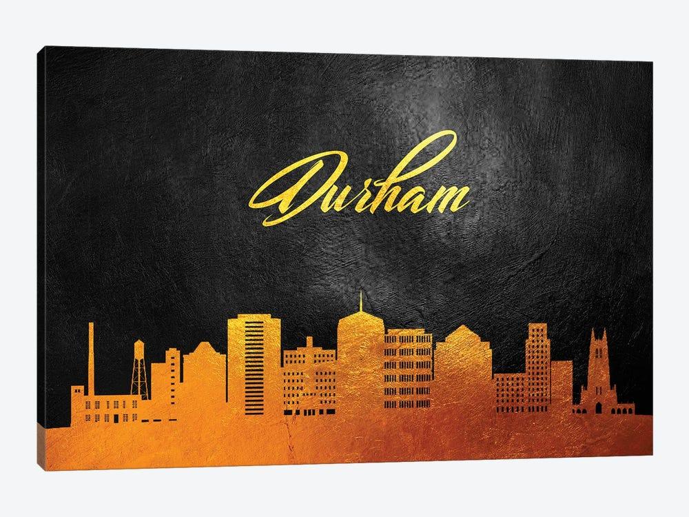 Durham North Carolina Gold Skyline by Adrian Baldovino 1-piece Canvas Art Print