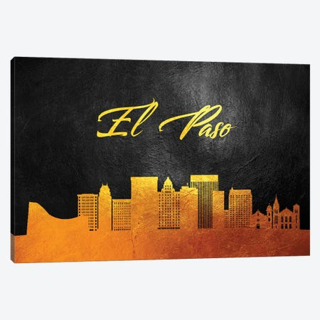 El Paso Texas Gold Skyline Canvas Print #ABV355} by Adrian Baldovino Canvas Wall Art