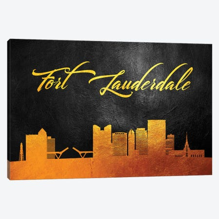 Fort Lauderdale Florida Gold Skyline Canvas Print #ABV356} by Adrian Baldovino Canvas Wall Art