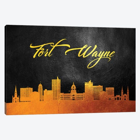 Fort Wayne Indiana Gold Skyline Canvas Print #ABV357} by Adrian Baldovino Canvas Wall Art