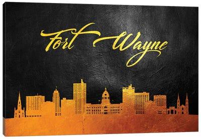 Fort Wayne Indiana Gold Skyline Canvas Art Print
