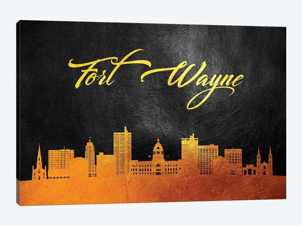 Fort Wayne Indiana Gold Skyline by Adrian Baldovino 1-piece Canvas Art