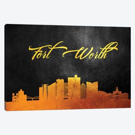 Fort Worth Texas Gold Skyline Canvas Print #ABV358} by Adrian Baldovino Canvas Print