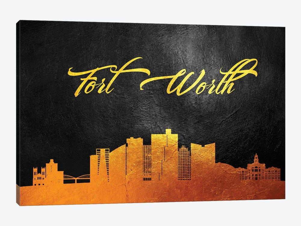 Fort Worth Texas Gold Skyline by Adrian Baldovino 1-piece Canvas Print