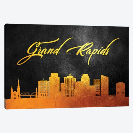 Grand Rapids Michigan Gold Skyline Canvas Print #ABV359} by Adrian Baldovino Canvas Print