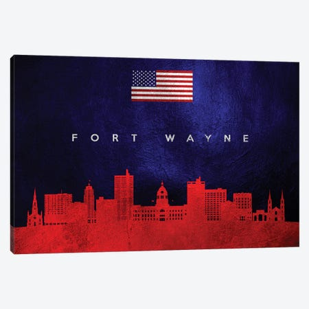 Fort Wayne Indiana Skyline Canvas Print #ABV35} by Adrian Baldovino Canvas Wall Art