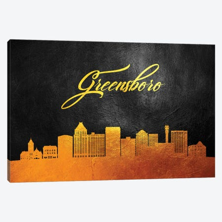 Greensboro North Carolina Gold Skyline Canvas Print #ABV360} by Adrian Baldovino Canvas Artwork