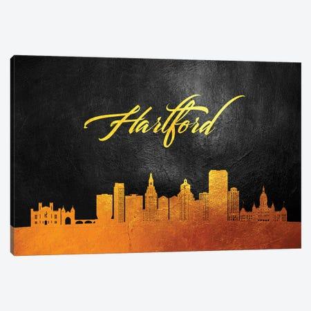 Hartford Connecticut Gold Skyline Canvas Print #ABV361} by Adrian Baldovino Canvas Wall Art