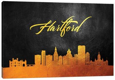Hartford Connecticut Gold Skyline Canvas Art Print