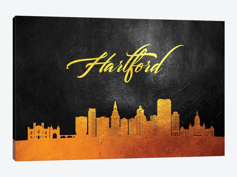 Hartford Connecticut Gold Skyline by Adrian Baldovino 1-piece Canvas Art Print