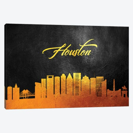 Houston Texas Gold Skyline Canvas Print #ABV362} by Adrian Baldovino Canvas Art