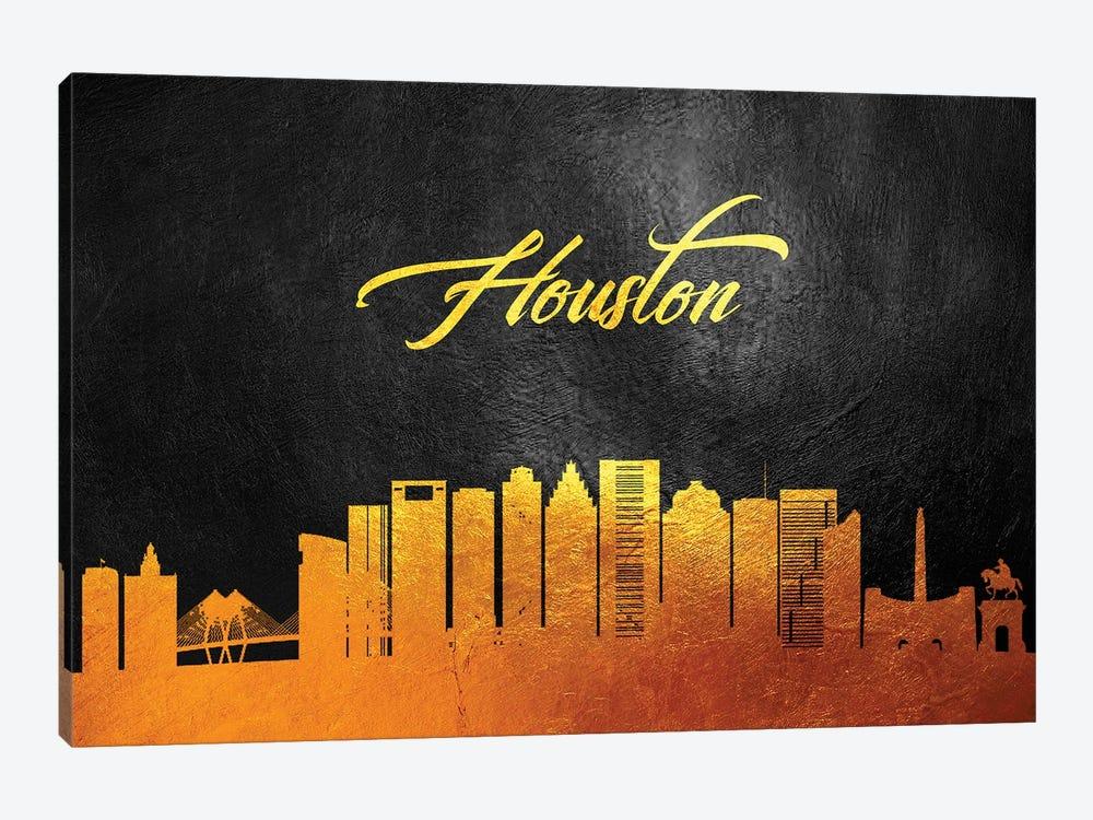 Houston Texas Gold Skyline by Adrian Baldovino 1-piece Canvas Art