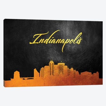 Indianapolis Indiana Gold Skyline 3-Piece Canvas #ABV363} by Adrian Baldovino Canvas Wall Art