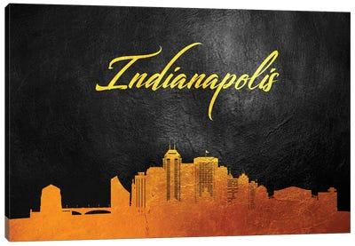 Indianapolis Indiana Gold Skyline Canvas Art Print