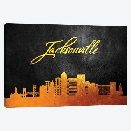 Jacksonville Florida Gold Skyline Canvas Print #ABV364} by Adrian Baldovino Canvas Art Print