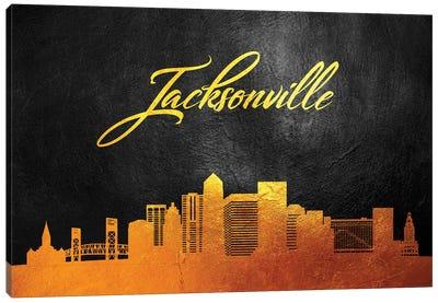 Jacksonville Florida Gold Skyline Canvas Art Print
