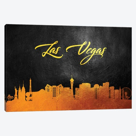 Las Vegas Nevada Gold Skyline Canvas Print #ABV365} by Adrian Baldovino Canvas Print
