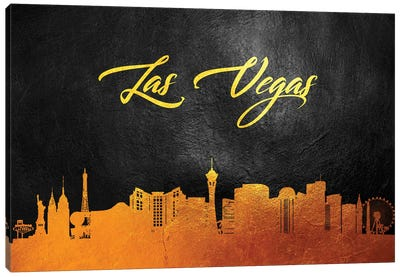 Las Vegas Nevada Gold Skyline Canvas Art Print