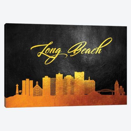 Long Beach California Gold Skyline Canvas Print #ABV367} by Adrian Baldovino Canvas Print