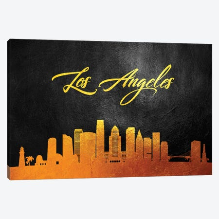 Los Angeles California Gold Skyline Canvas Print #ABV368} by Adrian Baldovino Canvas Artwork