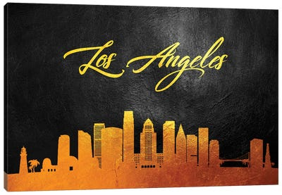 Los Angeles California Gold Skyline Canvas Art Print