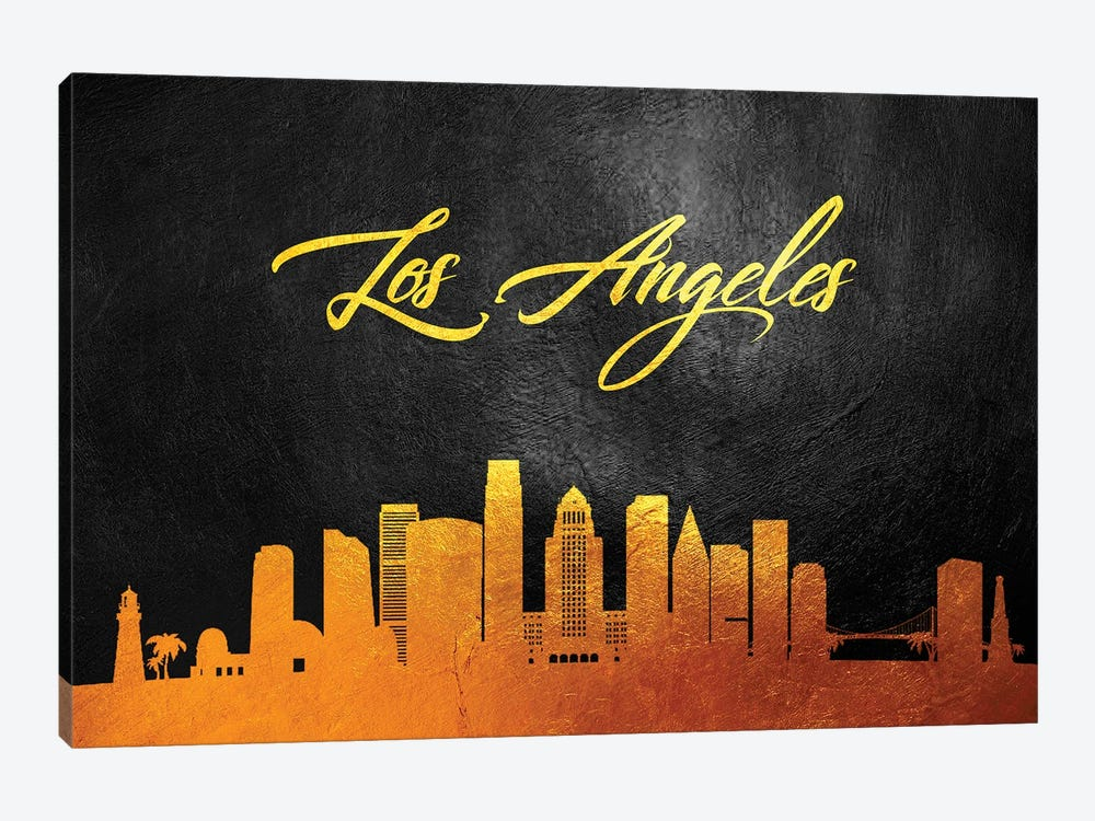 Los Angeles California Gold Skyline by Adrian Baldovino 1-piece Canvas Wall Art