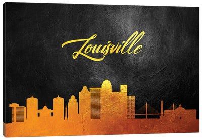 Louisville Kentucky Gold Skyline Canvas Art Print