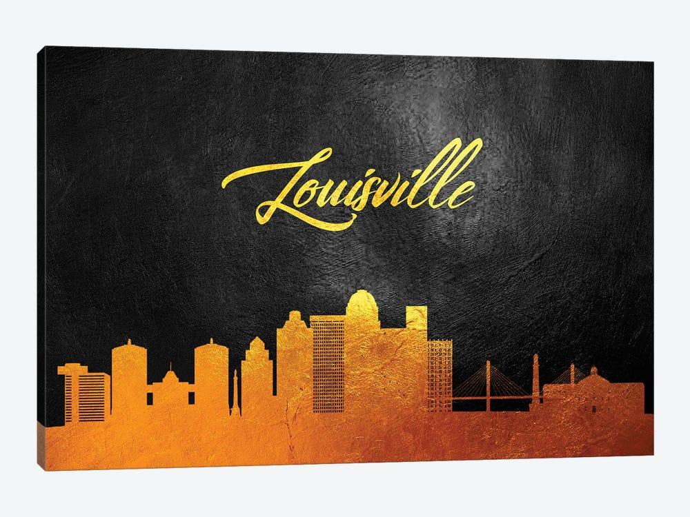 Louisville Kentucky Gold Skyline by Adrian Baldovino 1-piece Canvas Art Print