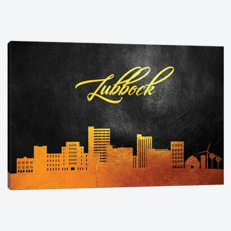 Lubbock Texas Gold Skyline Canvas Print #ABV370} by Adrian Baldovino Canvas Print